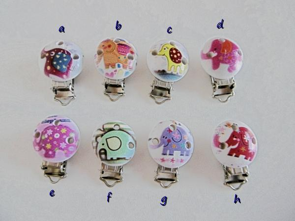 Schnullerkette Elefant Clips